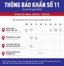 하노이市, 긴급 공지로 4개소 방문자 수배 중.., 흥센 마사지도 포함