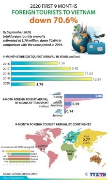 베트남 9개월 동안 외국인 방문객 전년 대비 약 70% 폭락