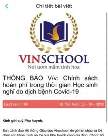 베트남 사립학교 빈스쿨 재택 기간 수업료 70~100% 환불