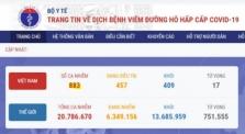 베트남 6/13일 확진자 3건 추가로 883건으로 증가.., 지역 2, 해외 1건