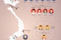 그래픽: 베트남 14명 확진자의 분포 현황 및 2차 감염 내역